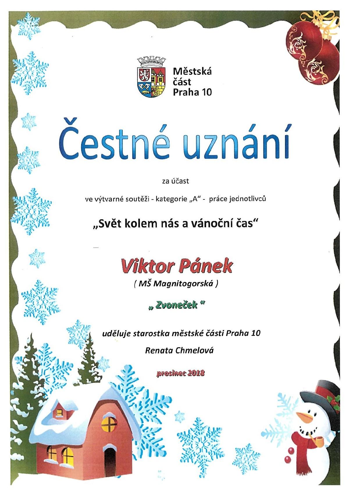 Svět kolem nás a vánoční čas: Diplom pro Viktora Pánka