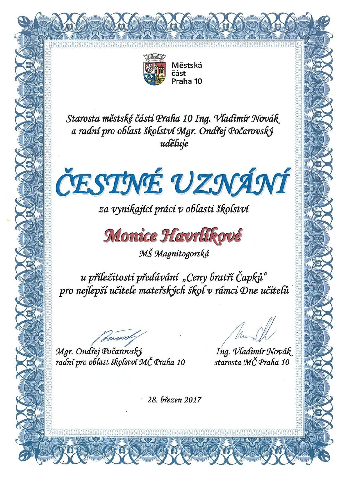 Cena bratří Čapků: Čestné uznání pro paní učitelku Moniku Havrlíkovou