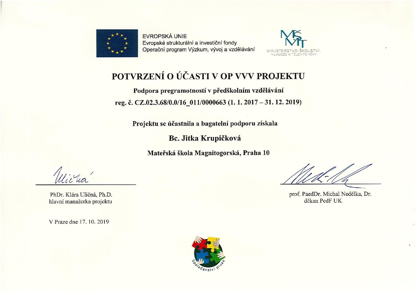 Potvrzení o účasti v OP VVV Projektu - Bc. Jitka Krupičková